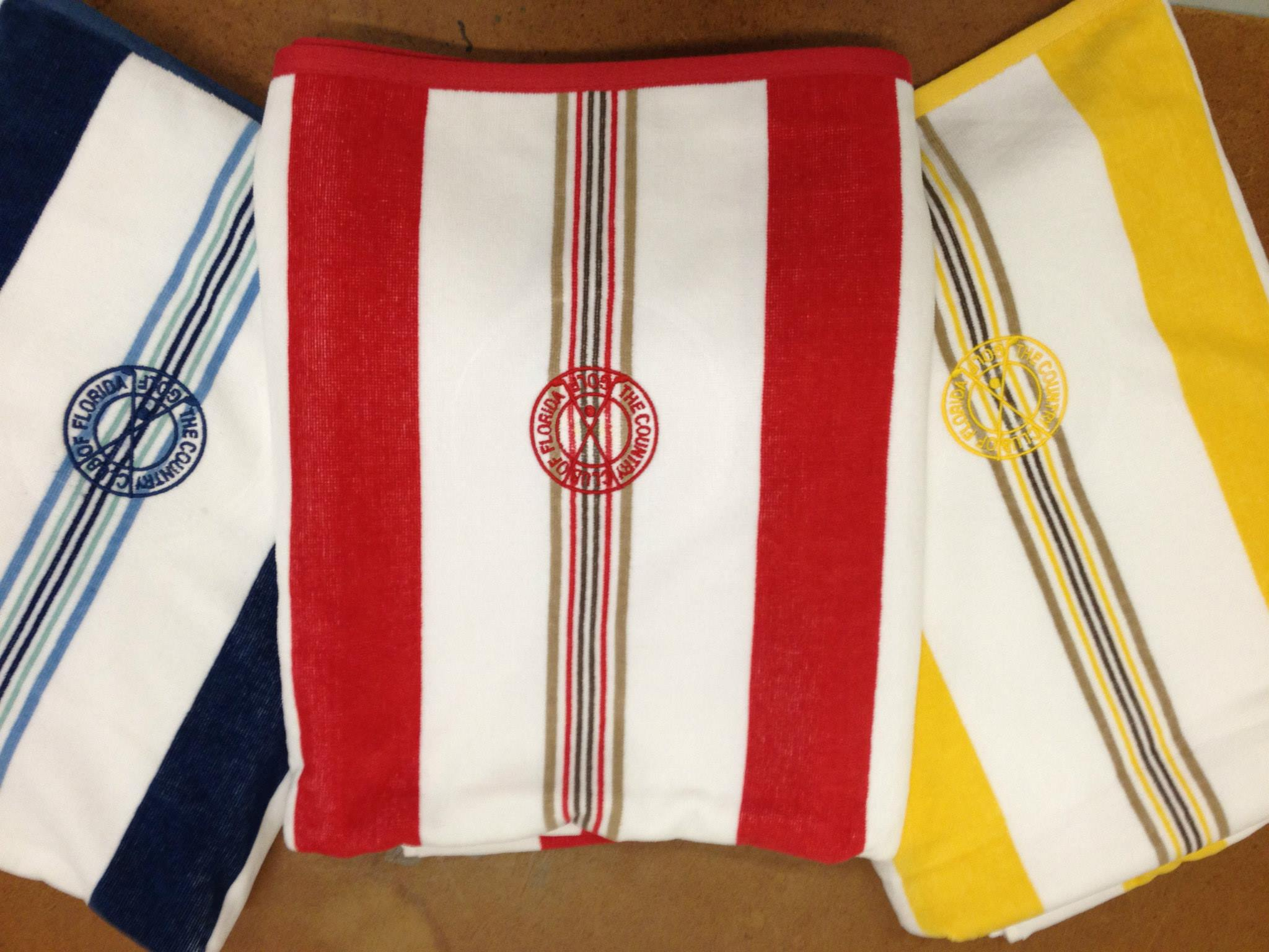 Monograms on colored towels